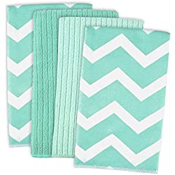 "DII Cleaning, Washing, Drying, Ultra Absorbent, Microfiber Chevron Dishtowel 16x19"" (Set of 4) - Aqua"