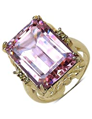 Suraabi 16.80CTW Pink Cubic Zirconia & Yellow Cubic Zirconia 14K Yellow Gold Plated Brass Ring For Women