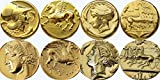 CHEVAUX DE L'AMOUR ? (Athena, Pegasus) (Arethusa, Quadrigger) (Tanit, Pegasus) (Perséphone, Chariot) 4 monnaies grecques avec des chevaux (#4H-G)...