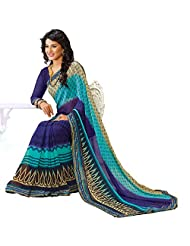 AG Lifestyle Blue Faux Georgette Saree With Unstitched Blouse AKS2026