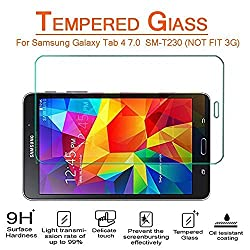 [Galaxy Tab 4 (7.0 Inch) T230 Screen Protector] Vogue Shop Tempered Glass HD Clear Screen Protector Guard Film for Samsung Galaxy Tab 4 7.0 Inch T230, with Anti-Scratch / Bubble-Free / Explosion-Proof / Pressure-Resistant / S