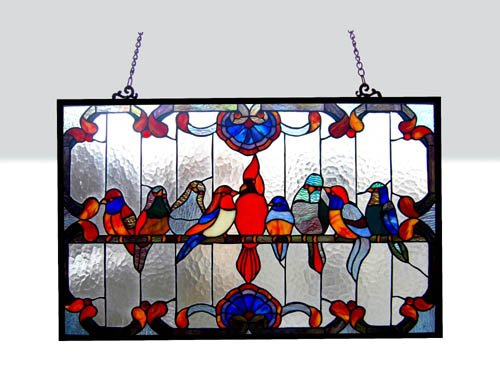 Tiffany Style Family Birds Design Glass Window Panel 32x20 0