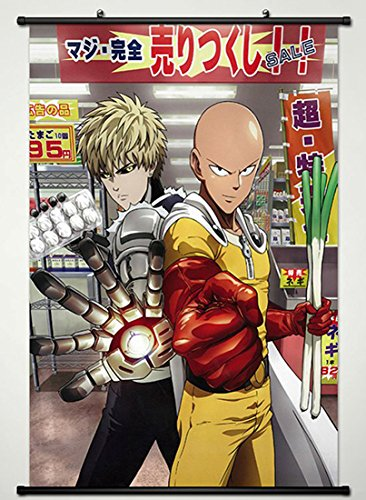 Wall Scroll Poster Fabric Painting For Anime One Punch Man Saitama & Genos D L