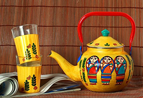 a-krazy-mug-indian-bengali-babuschka-tisch-dekor-hand-bemalt-teekessel-mit-2-glas-set-geschenk