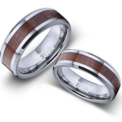 Men and Women's Tungsten and Koa Wood Wedding Rings 8mm Size 11