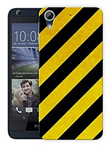 """Humor Gang Yellow Black Line Pattern Printed Designer Mobile Back Cover For """"HTC DESIRE 728"""" (3D, Matte, Premium Quality Snap On Case)"""