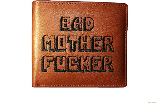 Bad Mother Fucker portafoglio in pelle marrone chiaro - ricamato - Embroidered Leather Wallet in Tan Brown