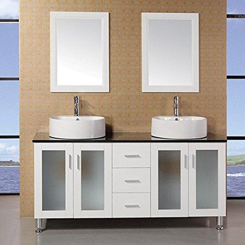 Modern Maya 60 Double Sink Glass Bathroom Vanity Set White Savelysevseevsd