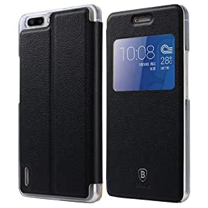 Baseus Primary Color Series Smart Cover Leather Case with Window for Huawei Honor 6 Plus (Black)