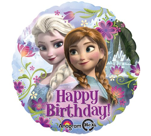 "Frozen Happy Birthday Balloon with Anna & Elsa Princess 17"" Mylar Foil Balloon - 1"
