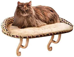 K&H Kitty Sill Deluxe Bolster Cat Bed, 14-Inch by 24-Inch, Tan Kitty Print