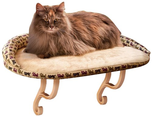 K&H Manufacturing Deluxe Kitty Sill With Bolster Tan Kitty Print 14-Inch by 24-Inch