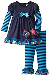 Rare Editions Baby Baby Girls\' Butterfly Applique Legging Set, Navy/Turquoise, 18 Months