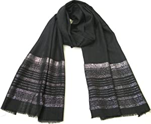 Clothing & Accessories Women Scarf - Black and Silver ladies scarf- Glittering and stylish party scarf for women - Pashminas - Lovarzi Shawl and Wrap