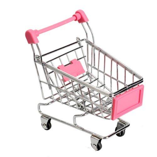 Vktech Mini Shopping Cart Supermarket Handcart Shopping Utility Cart Mode Storage Toy (Pink)