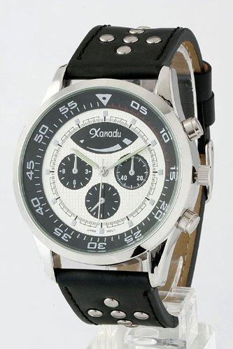 Karmas Canvas Studded Strap Watch (Black/White)