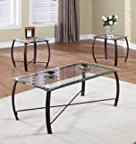 3 Pc. Beveled Glass And Copper Bronze Metal Frame Coffee Table & 2 End Tables Occasional Table Set