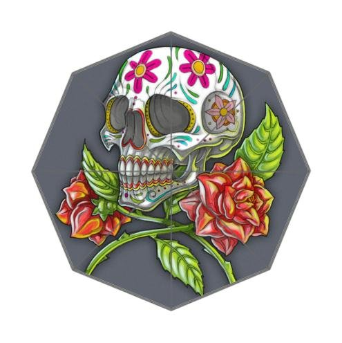 Personalized Sugar Skull Day of the Dead Flowers 100% Fabric And Aluminium Auto Foldable Umbrella