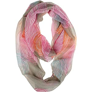 Vivian & Vincent Soft Light Weight Colorful Artistic Circles Print Sheer Infinity Scarf (Dark Khaki)