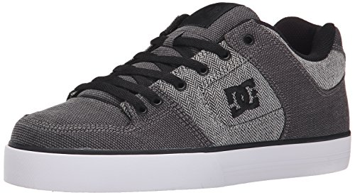 DC Men's Pure TX SE Skate Shoe, Grey/Grey/White, 7.5 M US