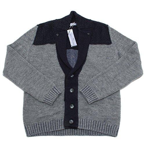 0066N maglione uomo DANIELE ALESSANDRINI lana grigio/blu sweater men [50]