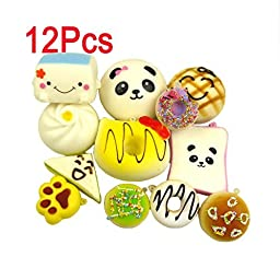 LEMO 12PCS Kawaii Soft Foods Panda Bun Toasts Multi Donuts Cell Gift Phone Chain TO379