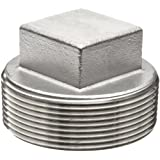 Stainless Steel 304 Cast Pipe Fitting, Square Head Cored Plug, MSS SP-114, NPT Male