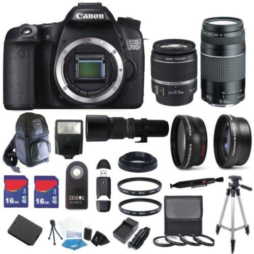 Canon Eos 70D 20.2 Mp Digital Slr Camera With Dual Pixel Cmos Af Digital Slr Body With Ef-S 18-55Mm Is Stm Lens & Ef 75-300Mm Iii Lens With 32Gb Deluxe Lens Bundle