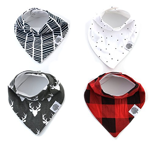 Baby Bandana Bibs by The Good Baby - 4 Pack Baby Bibs - Boy (Plaid)