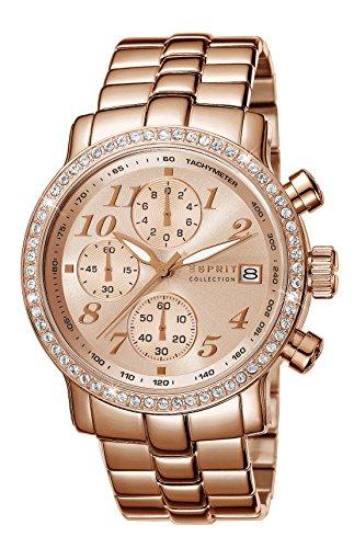 Esprit Pontess - Reloj de cuarzo para mujer, correa de acero inoxidable chapado color oro rosa