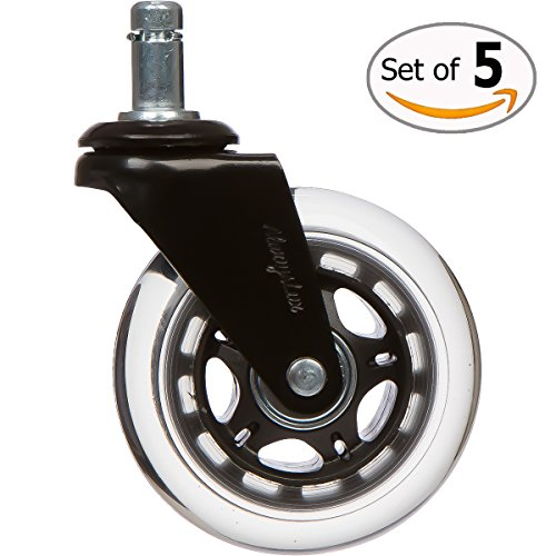Office Chair Caster Wheels, Universal Heavy Duty Replacement Safe on Carpet & Hardwood Floors – Lifetime Warranty!