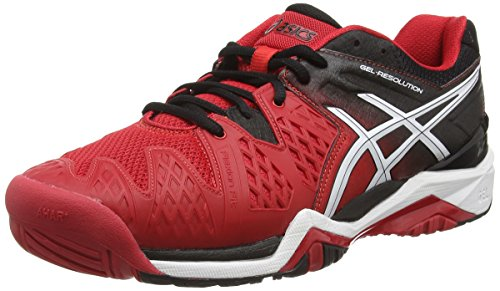 ASICS - Gel-Resolution 6, Scarpe Da Tennis da uomo, rosso (fiery red/black/white 2390), 44 EU (9 UK)
