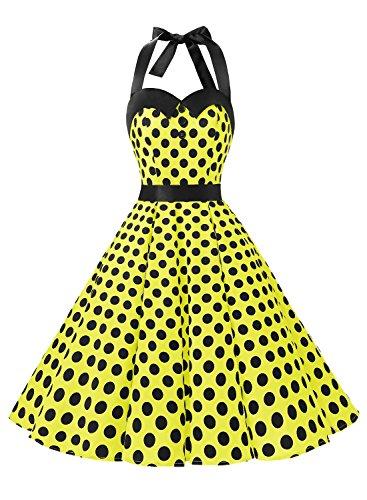 Dressystar Vintage Polka Dot Retro Cocktail Prom Dresses 50's 60's Rockabilly Bandage Yellow Black Dot M