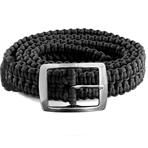 EliteMax Paracord Survival Belt with Metal Buckle - Black Bermuda Canvas Shorts