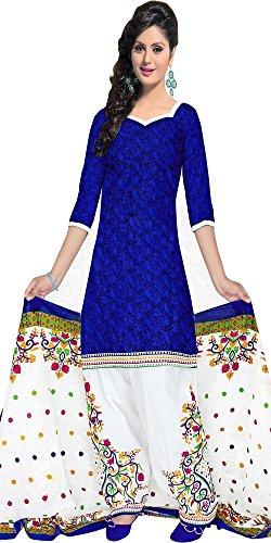 Aracruz Women's Designer Party Wear Low Price Sale Offer Blue Cotton Monika bedi Unstitched Patiala Salwar Kameez Suit Dress Material With Dupatta