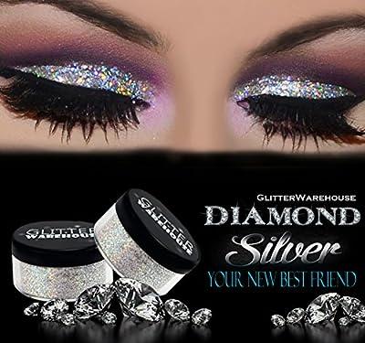GlitterWarehouse Glitter for Eyeshadow / Eye Shadow Shimmer Makeup Powder Diamond Silver