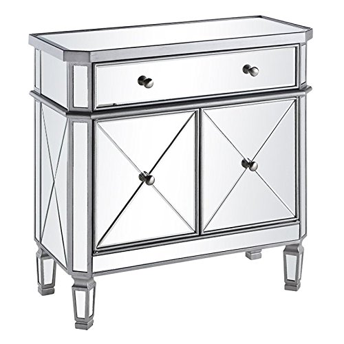 Elegant Lighting Danville 2 Door Mirrored Chest in Silver (Mirrored Bar Cabinet compare prices)