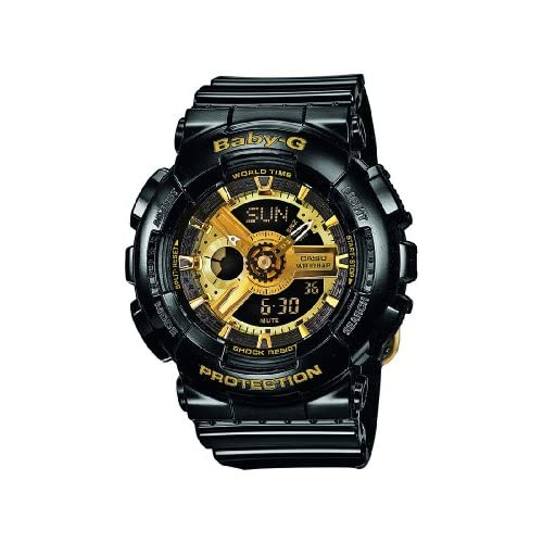 Baby-G-Womens-Quartz-Watch-with-Gold-Dial-Analogue-Digital-Display-and-Black