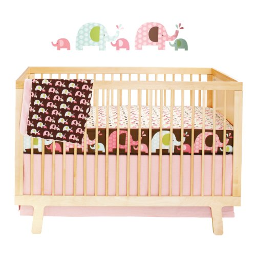 Skip Hop Complete Sheet 4 Piece Crib Bedding Sets, Pink Elephant (Discontinued by Manufacturer)
