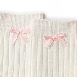Alva Edison Bowknot Knee High Cotton Socks For Baby Girls,Toddlers&Child,0-1T,White
