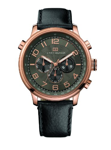 Tommy Hilfiger Men's Tyler Watch 1790766 Chronograph With Black And Rose Gold Dial