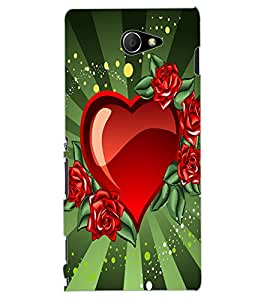 ColourCraft Love Heart Design Back Case Cover for SONY XPERIA M2 DUAL D2302