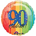 18 in. - 90th Year To Celebrate Metallic Balloon - Each