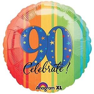 18 in. - 90th Year To Celebrate Metallic Balloon - Each