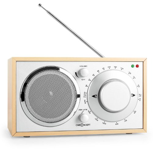 oneConcept Lausanne Nostalgie-Radio Retro Küchenradio Tragbares Radio (UKW/MW-Sendertuner, Breitbandlautsprecher, AUX-Eingang, hochwertige Verarbeitung, Edles Holzfurnier) eiche