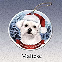 Holiday Pet Gifts Maltese Santa Hat Dog Porcelain Christmas Tree Ornament