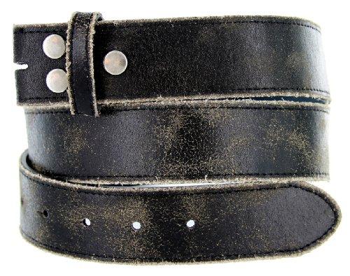 Vintage Look Distressed Black Leather Strap Belt Snap on for Buckles (36)