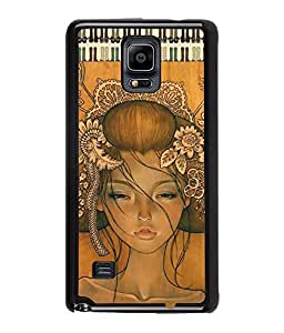 Fuson Dressed up Girl Back Case Cover for SAMSUNG GALAXY NOTE 4 - D3913