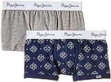Pepe Jeans London Pack x 2 Bóxers Jett, color Azul / Gris, para 9 - 10 años  (medida de la cintura: 62 - 64 cm)