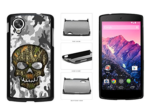 Human Skull With Camo Pattern Background Plastic Phone Case Back Cover For LG Google Nexus 5 D820 comes with Security Tag and myPhone Designs(TM) Cleaning Cloth